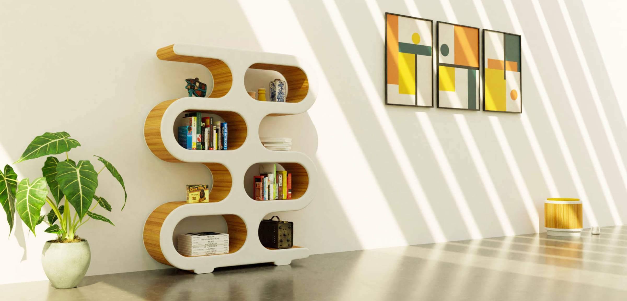 Design boekenkast in woonkamer