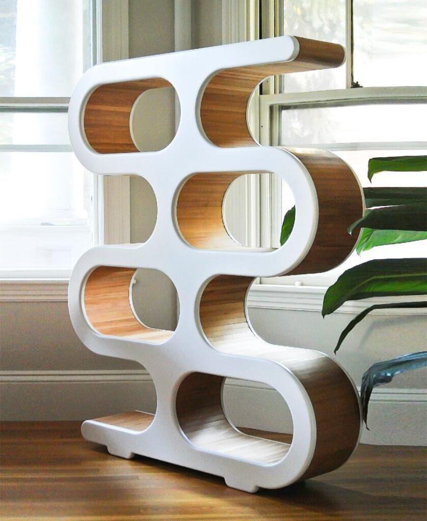Midcentury design bookcase / room divider in living room