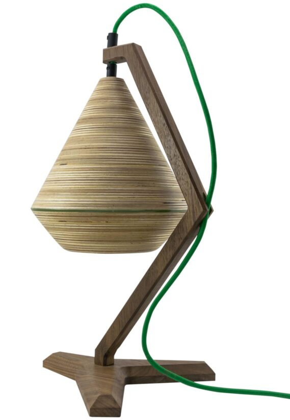 funky desk lamp design made of walnut and baltic birch