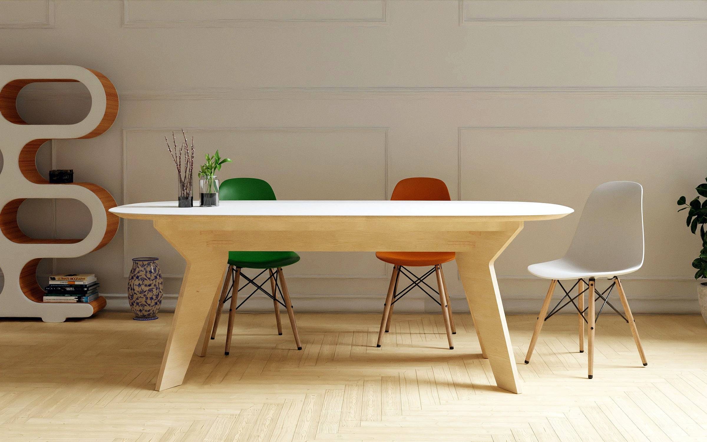 Organic design table with solid surface top