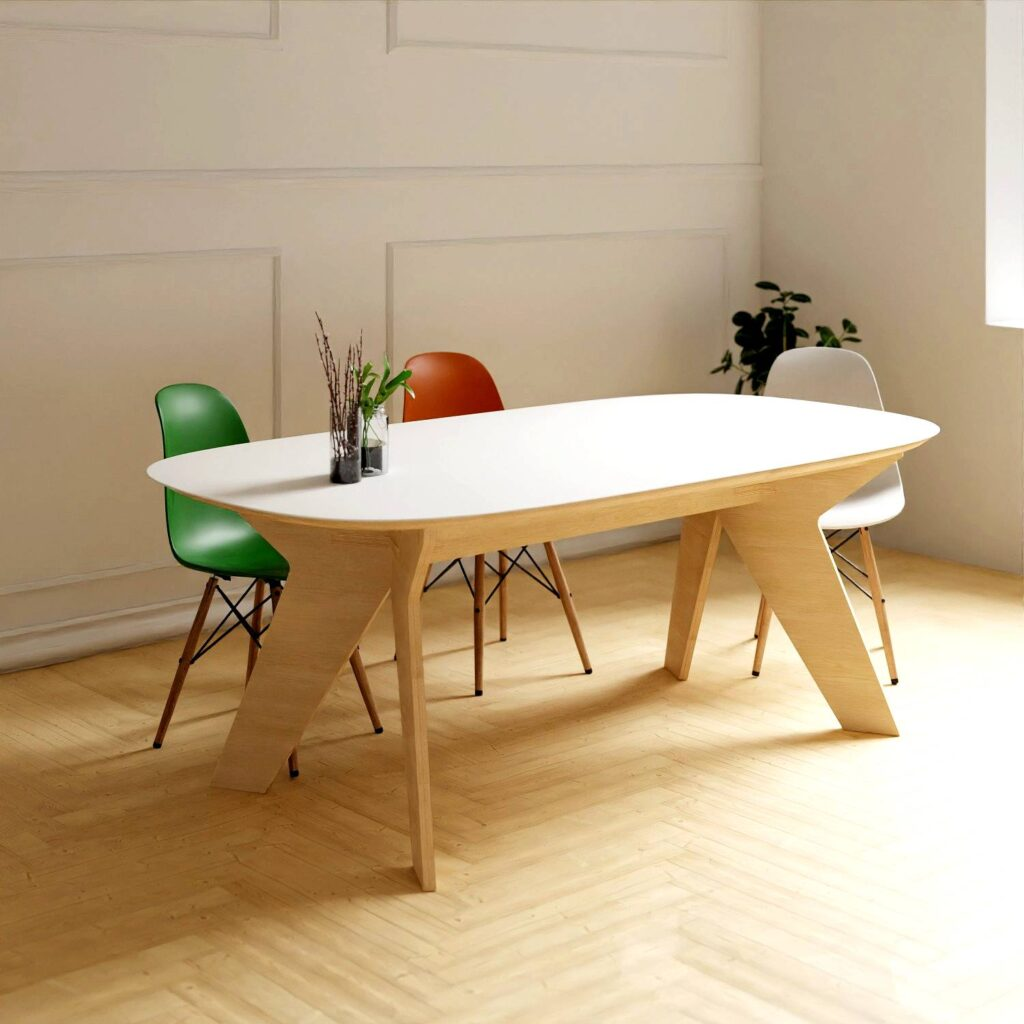 Dining table with solid surface top